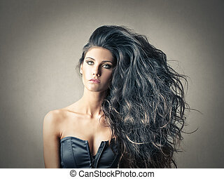 Woman with grey hair - Woman with beautiful grey hair