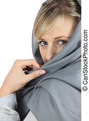 Woman with grey shawl