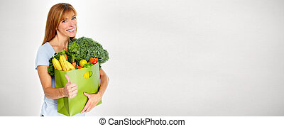 Woman with Grocery shopping bag. - Woman with Grocery...