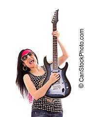 Woman With Guitar On White