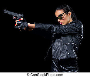 Woman with gun isolated