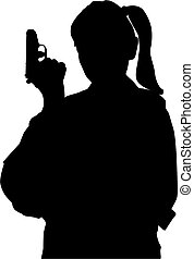 Woman with gun - Pistol