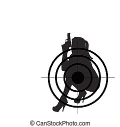 woman with gun vector silhouette