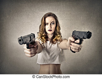 Woman with guns