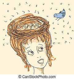 Woman with hair nest