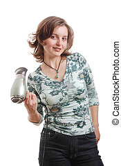 Woman with hairdryer - isolated