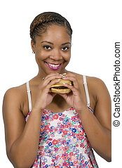 Woman with Hambrger