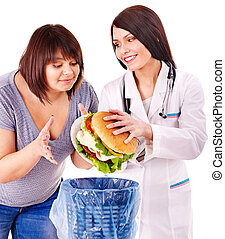 Woman with hamburger and doctor. - Overweight woman with...