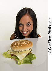 woman with hamburger