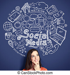 woman with Hand drawn illustration of social media concept
