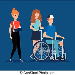 woman with hand fracture and man sitting in the wheelchair