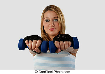 Woman with hand weights