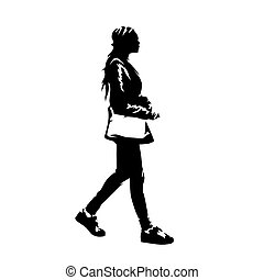 Woman with handbag walking, young african american lady profile. Ink drawing. Isolated vector silhouette