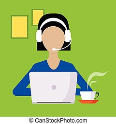 Woman With Hands Free And Lap Top Working Freelance Flat ...