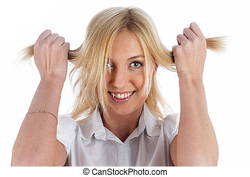 Woman with hands in hair