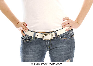 woman with hands on hips - woman wearing jeans and t-shirt ...