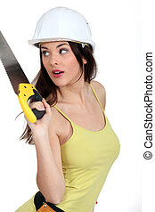 Woman with handsaw