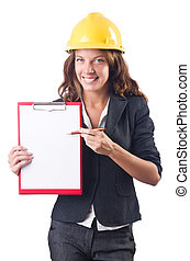 Woman with hard hat and binder