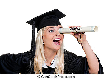 Woman with hat graduate seeks work