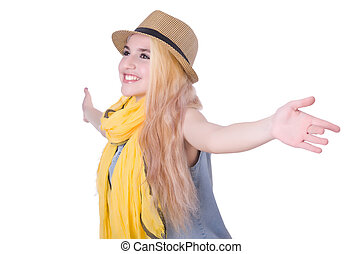 Woman with hat isolated on the white background