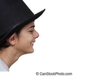 woman with hat isolated on white