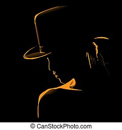 Woman with hat silhouette in backlight. Vector. Illustration