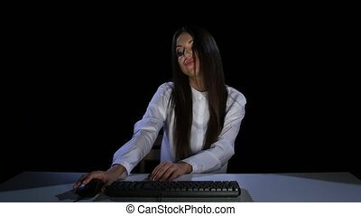 Woman with haughty communicate in online chat. Emotions. Studio