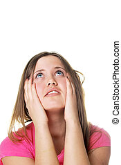 woman with headache holding her head with hands