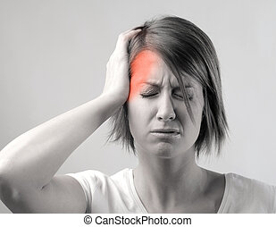 Woman with headache, black and white