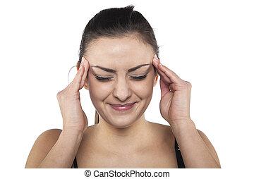 Woman with headache, portrait