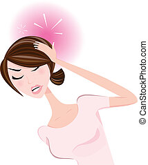 Stress in work, divorce, unhappy love or health problems? Young woman with pains. Vector Illustration.