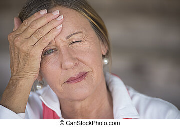 Woman with headache suffering portrait - Portrait attractive...