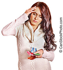 Woman with headache take pills and tablets. - Young woman...