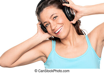 Woman with headphone