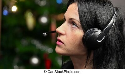 Woman with headphone talking