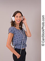 woman with headphones isolated on a white