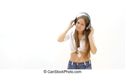 woman with headphones listening to