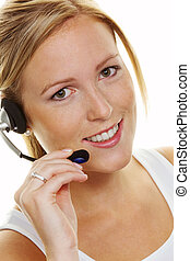 Woman with headset in customer service