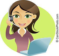 Woman with headset - Woman smilig with headset talking and...