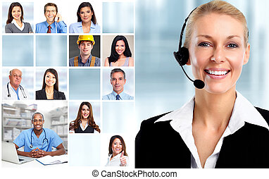 Woman with headsets and workers faces collage.