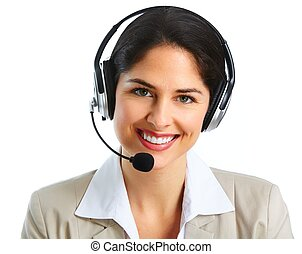 Woman with headsets isolated white background - Call center...