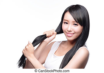 Woman with health hair care