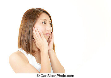 Woman with health skin of face