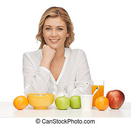 woman with healthy breakfast