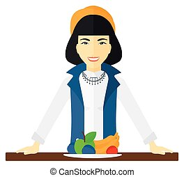 Woman with healthy food.