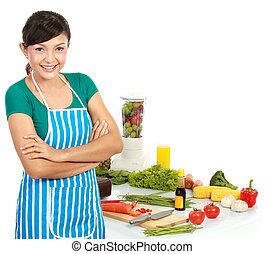 woman with healthy food