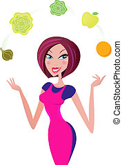 Super woman chef juggling with vegetable ingredients. She has sexy pink kitchen uniform. Vector Illustration.