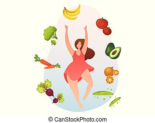 Woman with healthy food, vegetables and fruits.