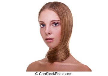 Woman with healthy hair on white background