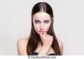 Woman with Healthy Hair, Skin and Fashion Makeup